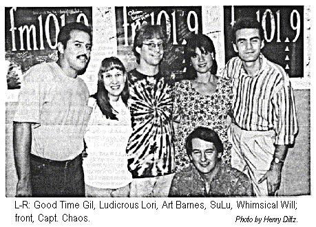 [L-R: Good Time Gil, Ludicrous Lori, Art Barnes, SuLu, Whimsical Will; front, Capt. Chaos.  Photo by Henry Diltz]
