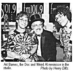 [Art Barnes, the Doc and Weird Al reminisce in the studio.  Photo by Henry Diltz]